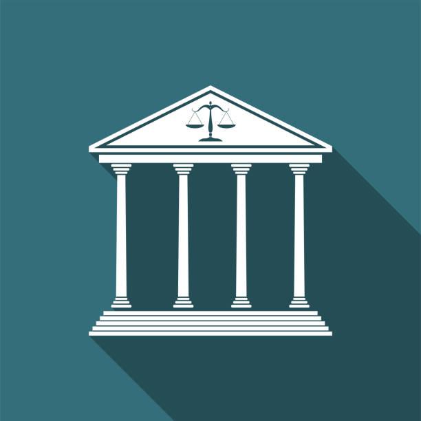 gerichtsgebäude symbol isoliert mit langen schatten. flaches design. vektor-illustration - geldstrafe stock-grafiken, -clipart, -cartoons und -symbole
