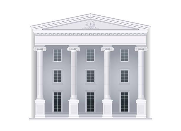 gerichtsgebäude im klassischen stil - gesims stock-grafiken, -clipart, -cartoons und -symbole
