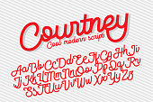 Courtney cool and modern script font, monolinear with cut sharp ends.
