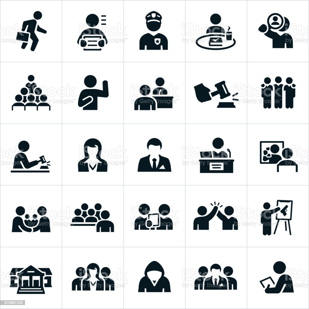 Gerichtssaal-Symbole – Vektorgrafik