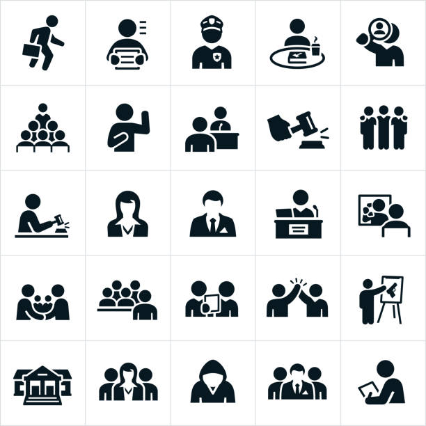 Courtroom Icons A set of courtroom related icons. The icons include lawyers, criminals, police officer, juries, judge, courthouse and a gavel to name a few. police line up stock illustrations