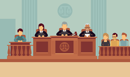Courtroom interior with judges and lawyer. Justice and law vector concept