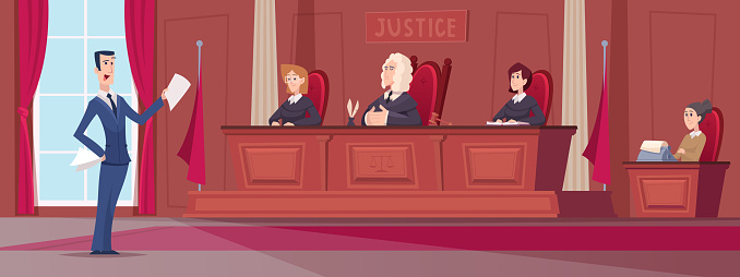 Courtroom. Judges in uniform sitting at court lawyers workers at table exact vector cartoon background