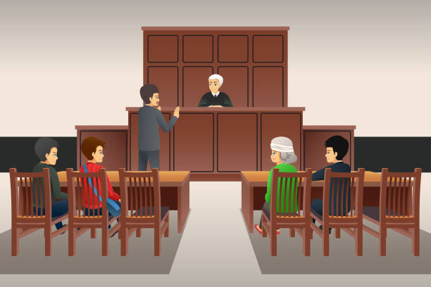 Courtroom Scene Illustration vector art illustration
