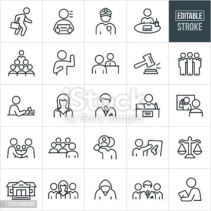A set of courtroom icons that include editable strokes or outlines using the EPS vector file. The icons include an attorney, criminal, police officer, deliberation, jury, person under oath, witness, witness being questioned by an attorney, gavel, male attorney, female attorney, paralegal, judge, visitation, handshake, evidence, gun, scales of justice, courthouse, courtroom, legal team and other related icons.