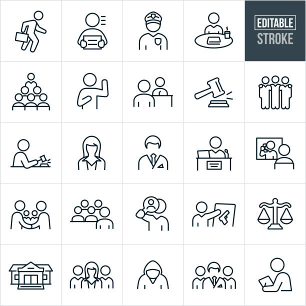 Courtroom Thin Line Icons - Editable Stroke A set of courtroom icons that include editable strokes or outlines using the EPS vector file. The icons include an attorney, criminal, police officer, deliberation, jury, person under oath, witness, witness being questioned by an attorney, gavel, male attorney, female attorney, paralegal, judge, visitation, handshake, evidence, gun, scales of justice, courthouse, courtroom, legal team and other related icons. judge law stock illustrations