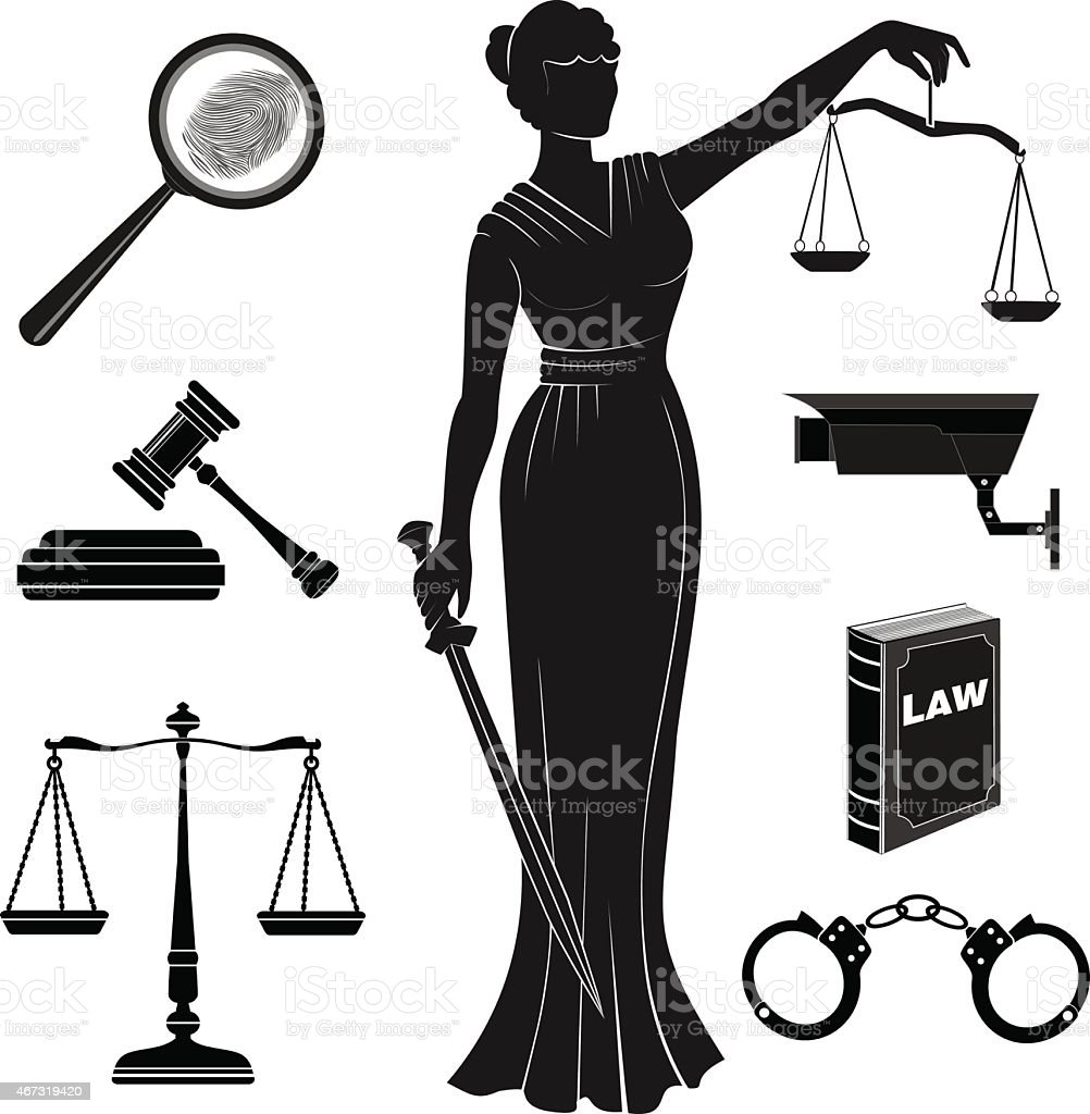 court.Set icons on  theme  judicial.law.Themis.lady justice vector art illustration