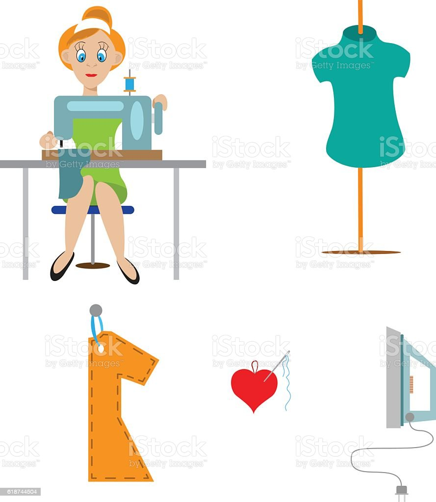 couture, seamstress at the machine vector art illustration