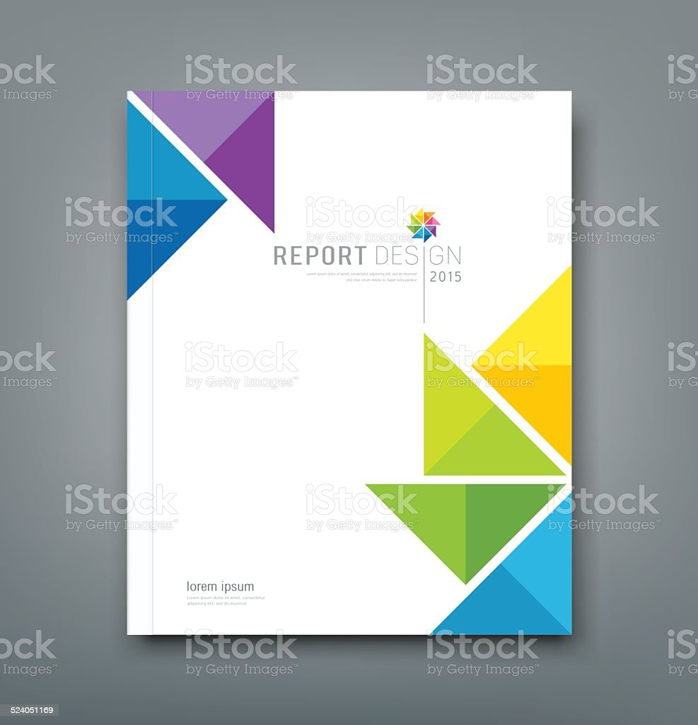 Cover Annual report colorful windmill origami paper vector art illustration