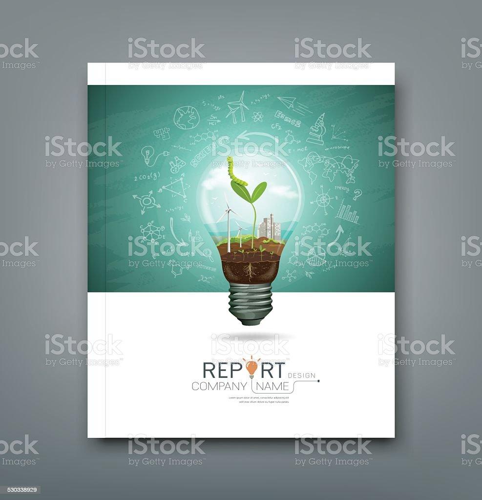 Cover annual report green seedlings in a light bulb vector art illustration