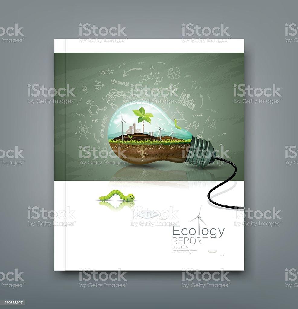 Couverture rapport annuel ampoule concept de l'écologie - Illustration vectorielle