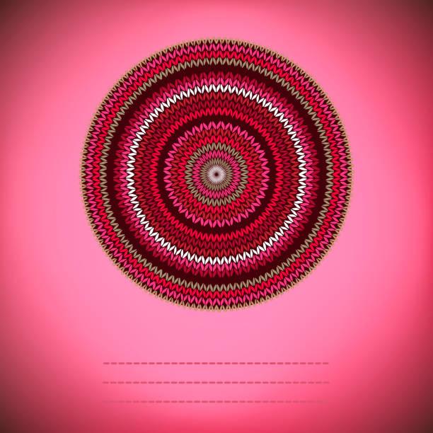 Cover-Hintergrund mit ornamentalen Runde gestrickte Muster, Stil Kreis einfache rot rosa weiß braun Farbe Vektor-Nadelarbeit – Vektorgrafik