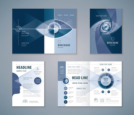 Cover Book Design Set, Abstract Eye Target icon vector Template Brochures, flyer, presentations, leaflet, annual report