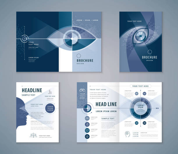 cover book design set, abstract eye target icon vector template brochures, flyer, presentations, leaflet, annual report - смотреть stock illustrations