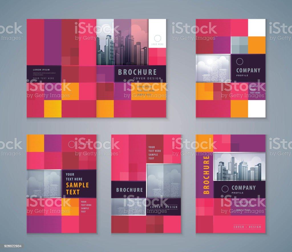 Cover Book Design Set, Abstract Pixel Background vector Template Brochures vector art illustration