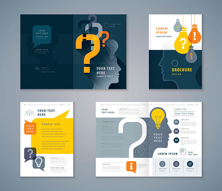 Cover Book Design Set, colorful Human head with Light Bulb and Question Mark Background vector Template Brochures