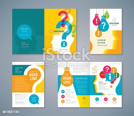Cover Book Design Set, colorful Human head with Light Bulb and Question Mark Background vector Template Brochures, flyer, presentations, leaflet, magazine, annual report,  problem; trouble, Questions and Answers, information