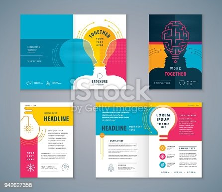 Cover Book Design Set, Human head with Light Bulb Background vector Template Brochures, flyer, presentations, leaflet, magazine, invitation card, annual report, Work Together, Teamwork, Brainstrom, combine