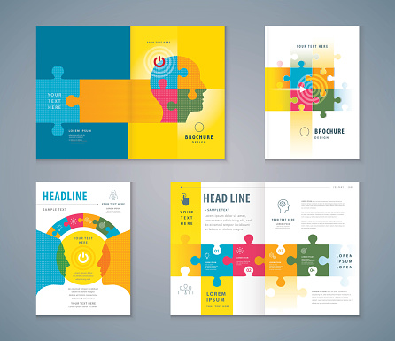 Cover Book Design Set, Jigsaw puzzle pieces and Human head Background vector