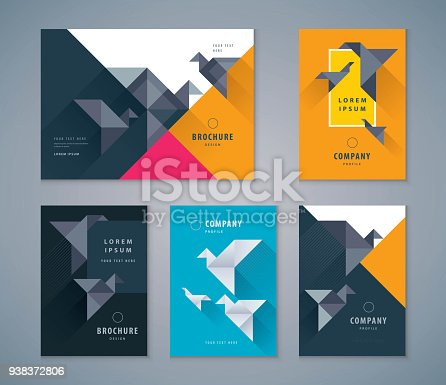 Cover Book Design Set, Colorful Paper Bird Background vector Template Brochures, flyer, presentations, leaflet, magazine, invitation card, annual report, Origami, Paper Craft, freedom idea