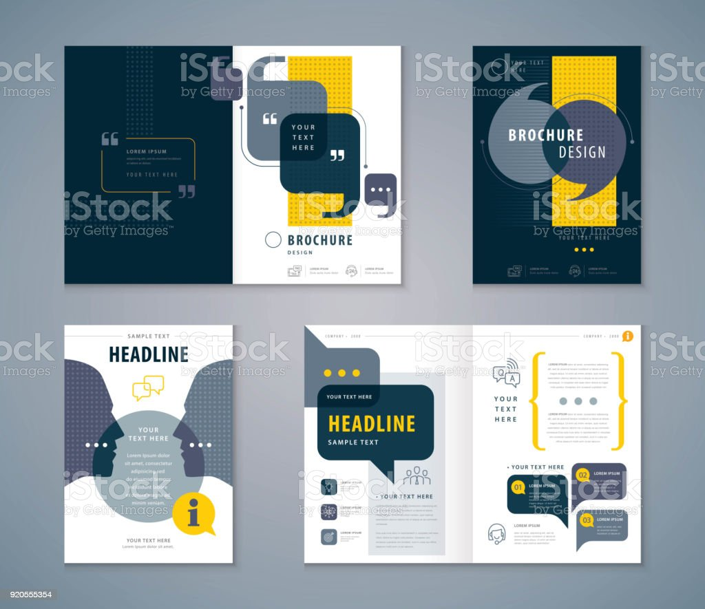 Cover Book Design Set, Speech Bubbles Background vector Template Brochures vector art illustration