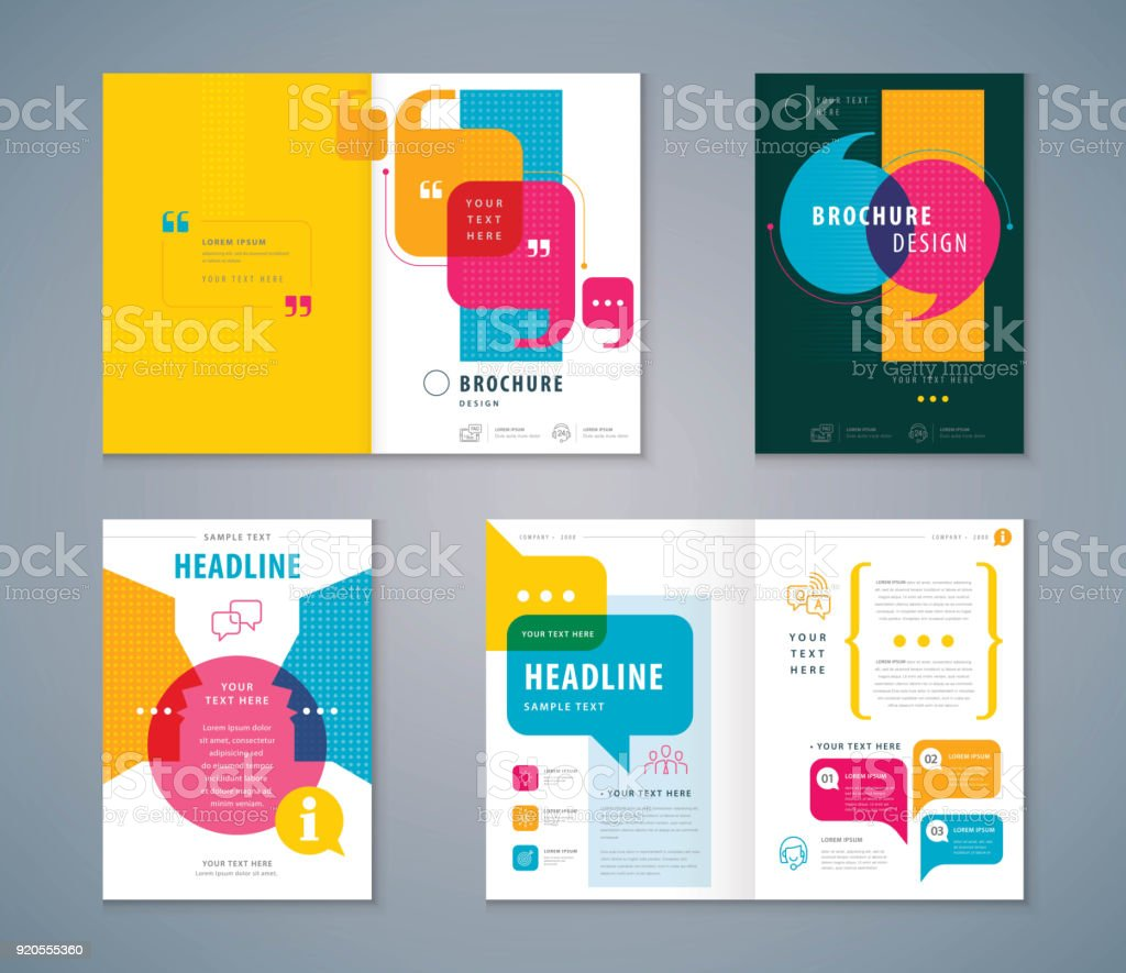 Cover Book Design Set, Speech Bubbles Background vector Template Brochures,