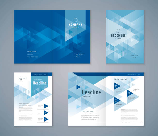 cover book design set, triangle background vector template brochures - invitations templates stock illustrations