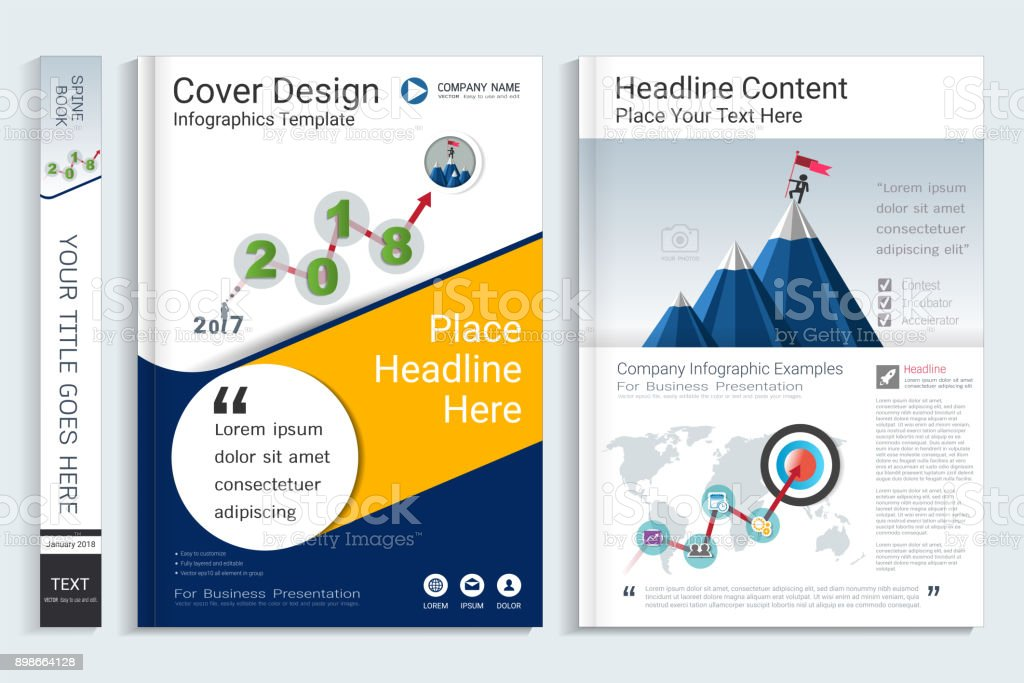 cover book design template with business infographics data report