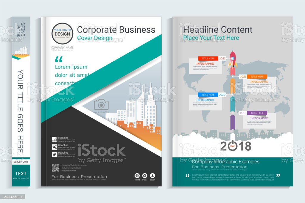 Book Cover Design Photo Elements : Cover book design template with presentation infographics