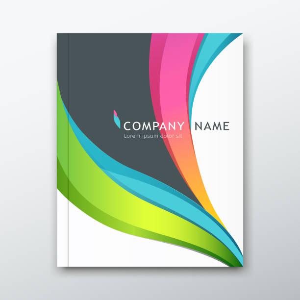 ilustraciones, imágenes clip art, dibujos animados e iconos de stock de libro informe nombre papel curva colorido diseño de la portada - fondos coloridos