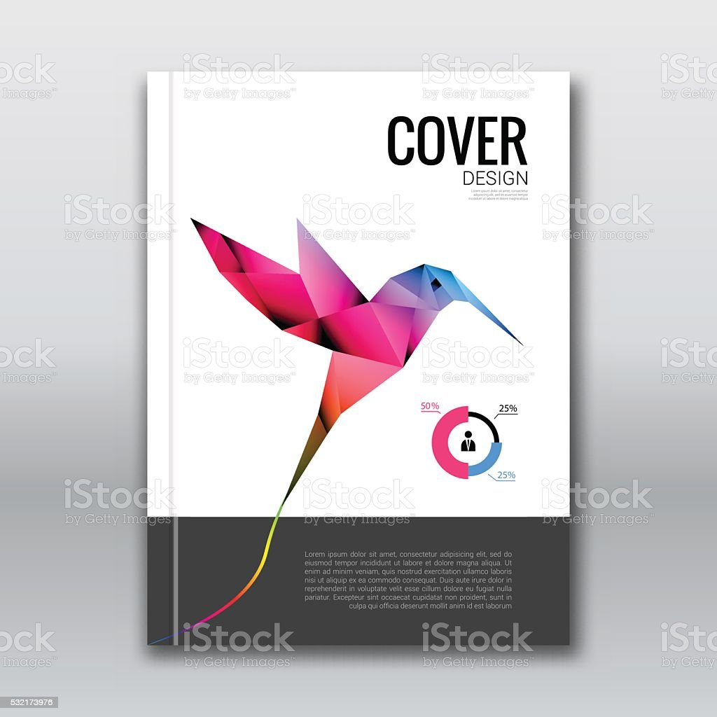 Buch Abdeckung Broschüre Vorlage Design Mockup Mit Fliegen Colibri ...