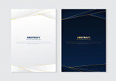 Cover brochure template header and footers polygonal pattern luxury style on dark blue and white background with golden lines. You can use for letterhead, poster, banner web, print, leaflet, flyer, etc. Vector illustration