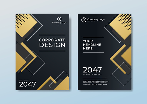 Cover brochure template header and footers polygonal pattern luxury style on dark blue and white background with golden lines. You can use for letterhead, poster, banner web, print and more
