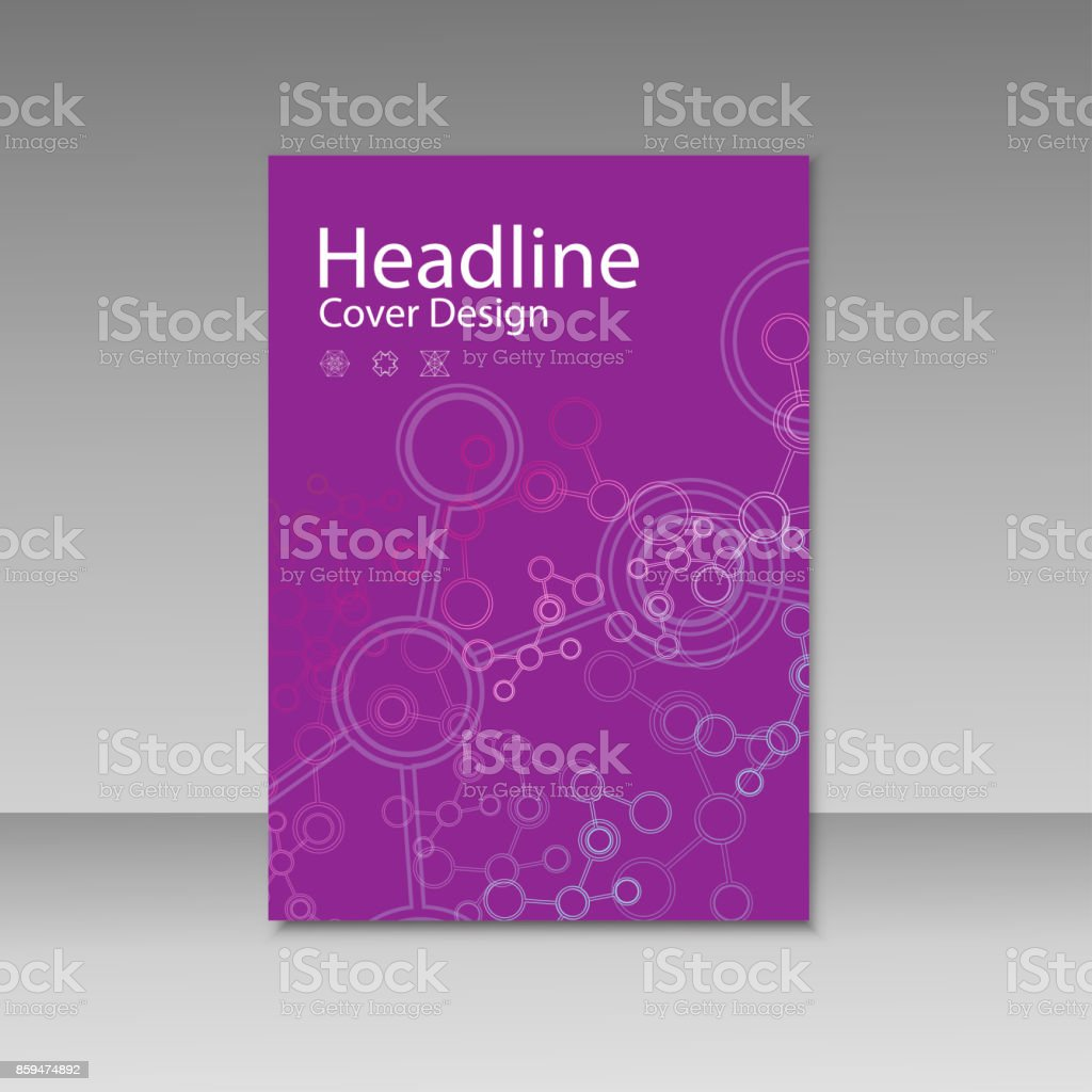 Cover brochure template with connect molecule background vector art illustration