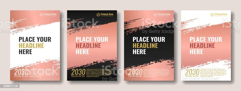 Couverture de brosse Rose Gold - clipart vectoriel de Affiche libre de droits