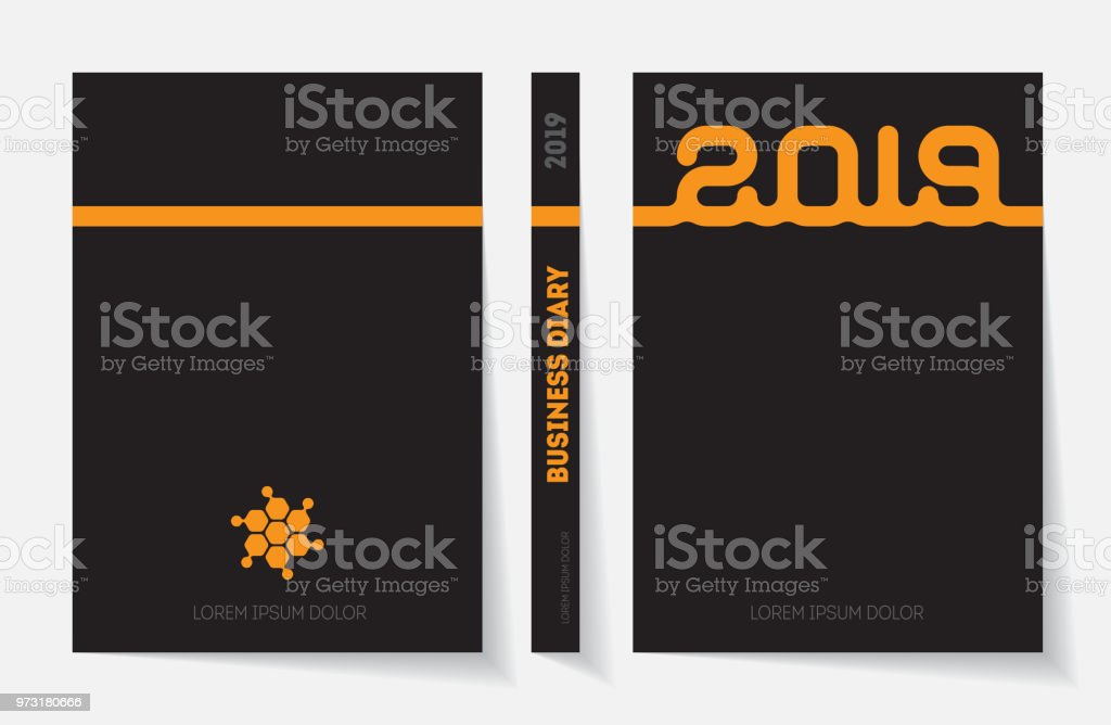 Cover Business Diary For 2019 Vector Design Template Royalty Free