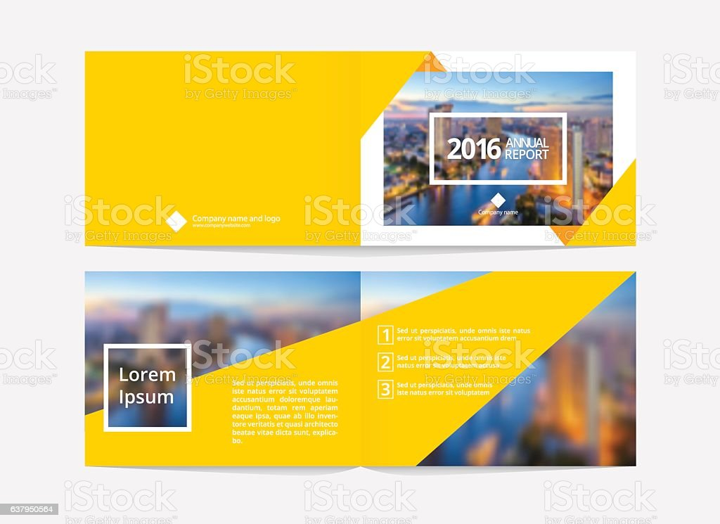 Cover design and inner layout template for annual report.