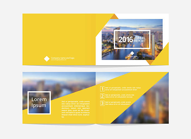 Cover design and inner layout template for annual report. vector art illustration