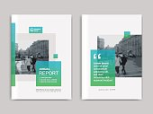 Annual report, flyer, presentation, brochure. Front page report , book cover layout design. Design layout template in A4 size . Abstract green transparent cover templates