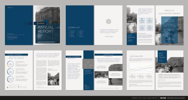 Cover design annual report, flyer, brochure. Cover design annual report,vector template brochures, flyers, presentations, leaflet, magazine a4 size. Dark blue and white background book drawings stock illustrations