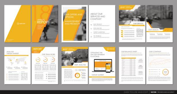 cover design annual report, flyer, brochure. - brochure templates stock illustrations, clip art, cartoons, & icons