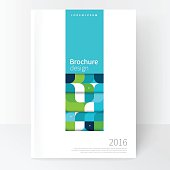Business brochure cover template. cover design annual report, flyer, leaflet, poster. Geometric Abstract background  Blue and green squares. stock-vector EPS 10