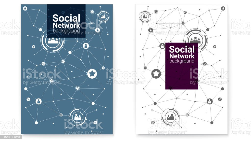 Cover design, flat style. Business or social media networks....
