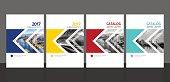 Cover design for annual report and business catalog, magazine, flyer or booklet blue, yellow, red and green colors. Brochure template layout. A4 cover vector EPS-10 sample image with Gradient Mesh.
