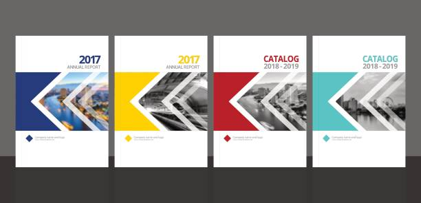 Cover design for annual report and business catalog, magazine, flyer or booklet blue, yellow, red and green colors. Brochure template layout. A4 cover vector EPS-10 sample image with Gradient Mesh. vector art illustration