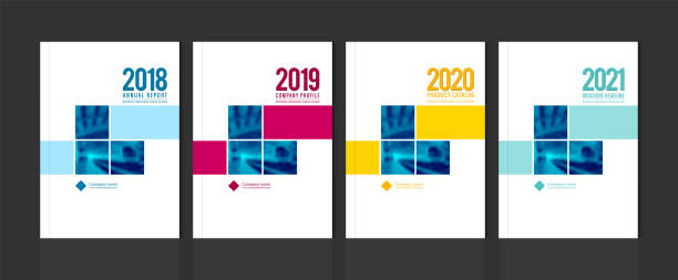 cover design for annual report business catalog company profile brochure magazine flyer booklet poster banner. a4 template element cover vector eps-10 sample image with gradient mesh. - annual reports templates stock illustrations