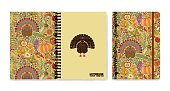 Cover design for notebooks or scrapbooks with autumn pattern and turkey. Vector illustration.