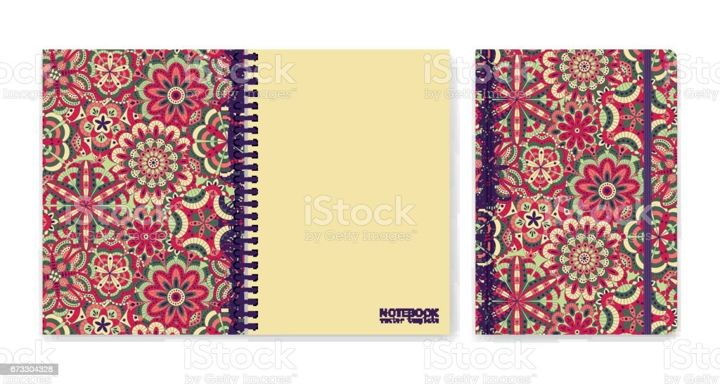 Cover design for notebooks or scrapbooks with beautiful ornamental flowers. Vector illustration. royalty-free cover design for notebooks or scrapbooks with beautiful ornamental flowers vector illustration stock vector art & more images of abstract