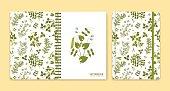 Cover design for notebooks or scrapbooks with legume plants. Vector illustration.