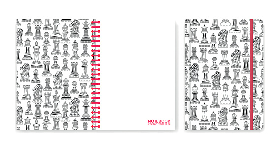 Cover design for notebooks or scrapbooks with ornamental chess pieces